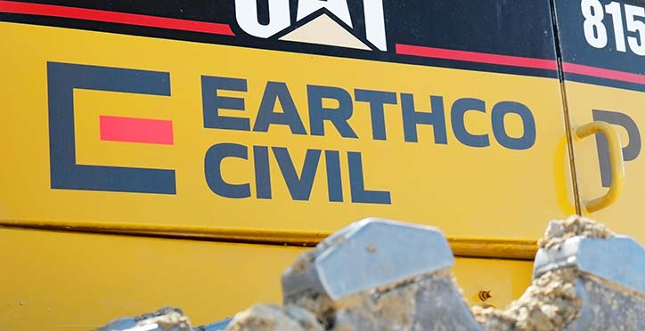 Earthco Civil plant signage on digger